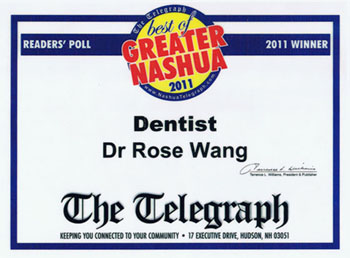Nashua Dentist, Dr Rose L Wang Voted Best Dentist Greater Nashua Certificate